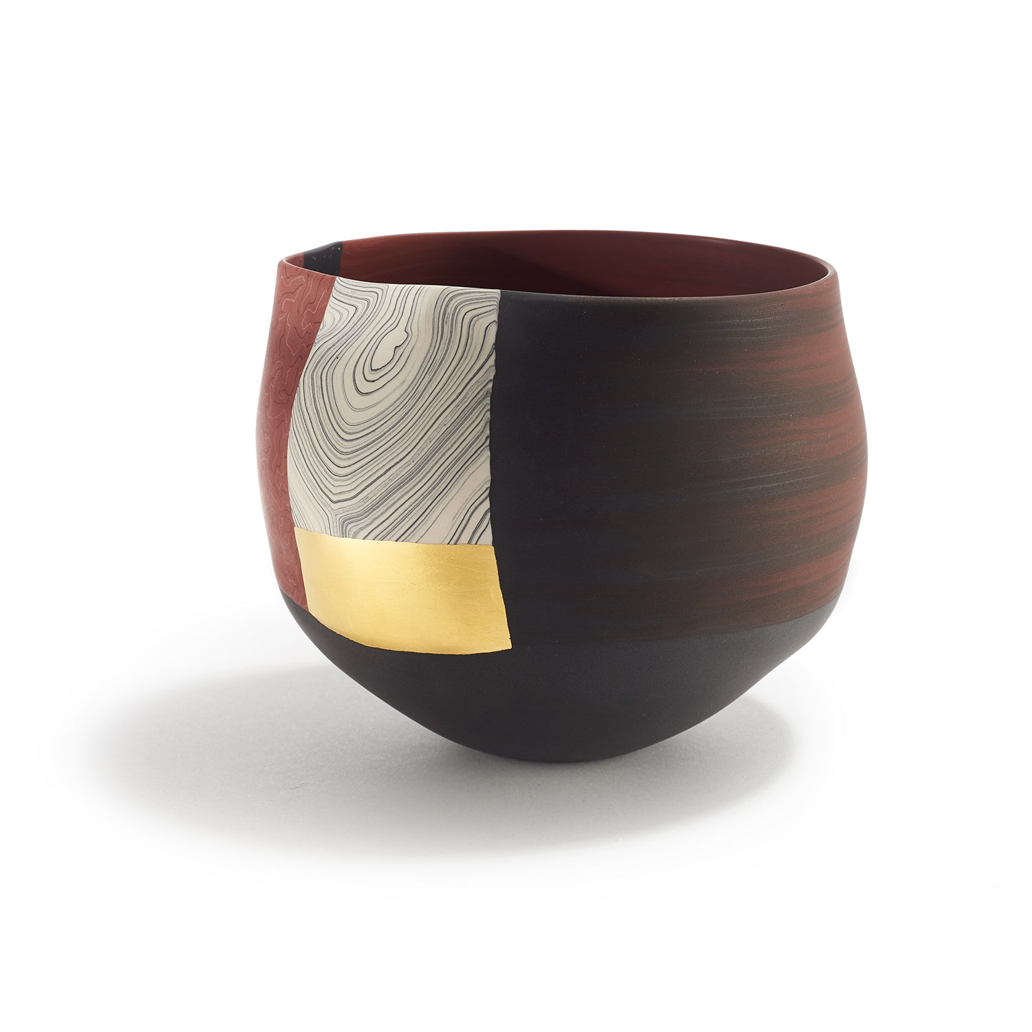 Small Red, Black & White Bowl with Gold Leaf
