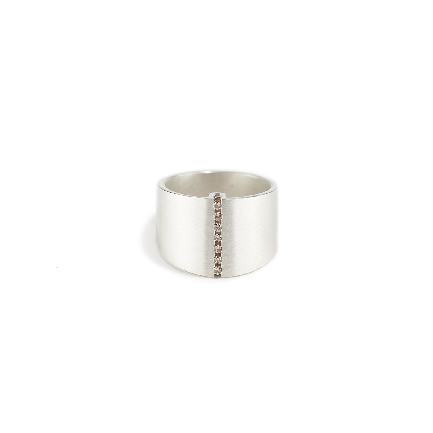 Elli V Ring in Silver with Champagne Diamonds