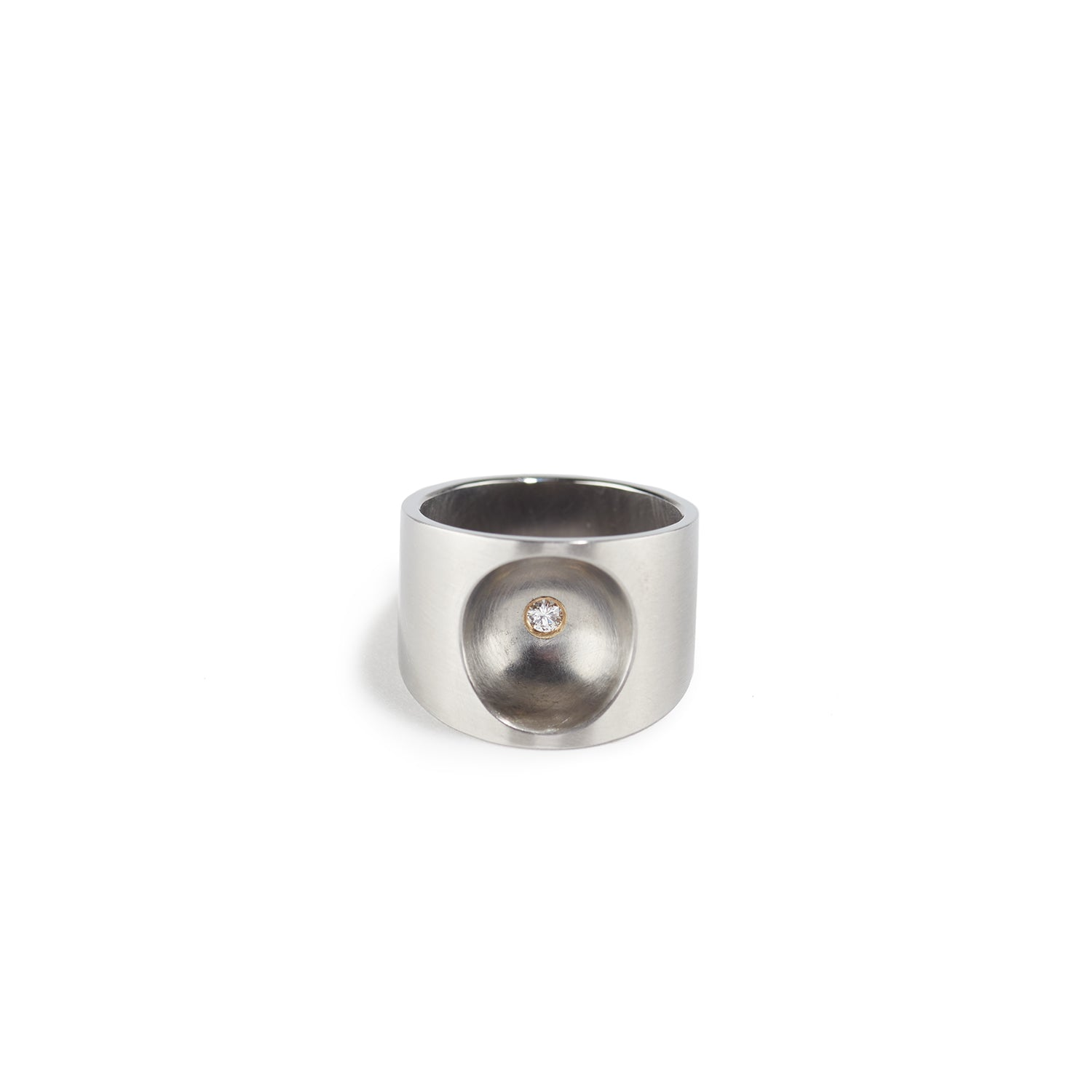 Elli P Ring in Steel with Diamond