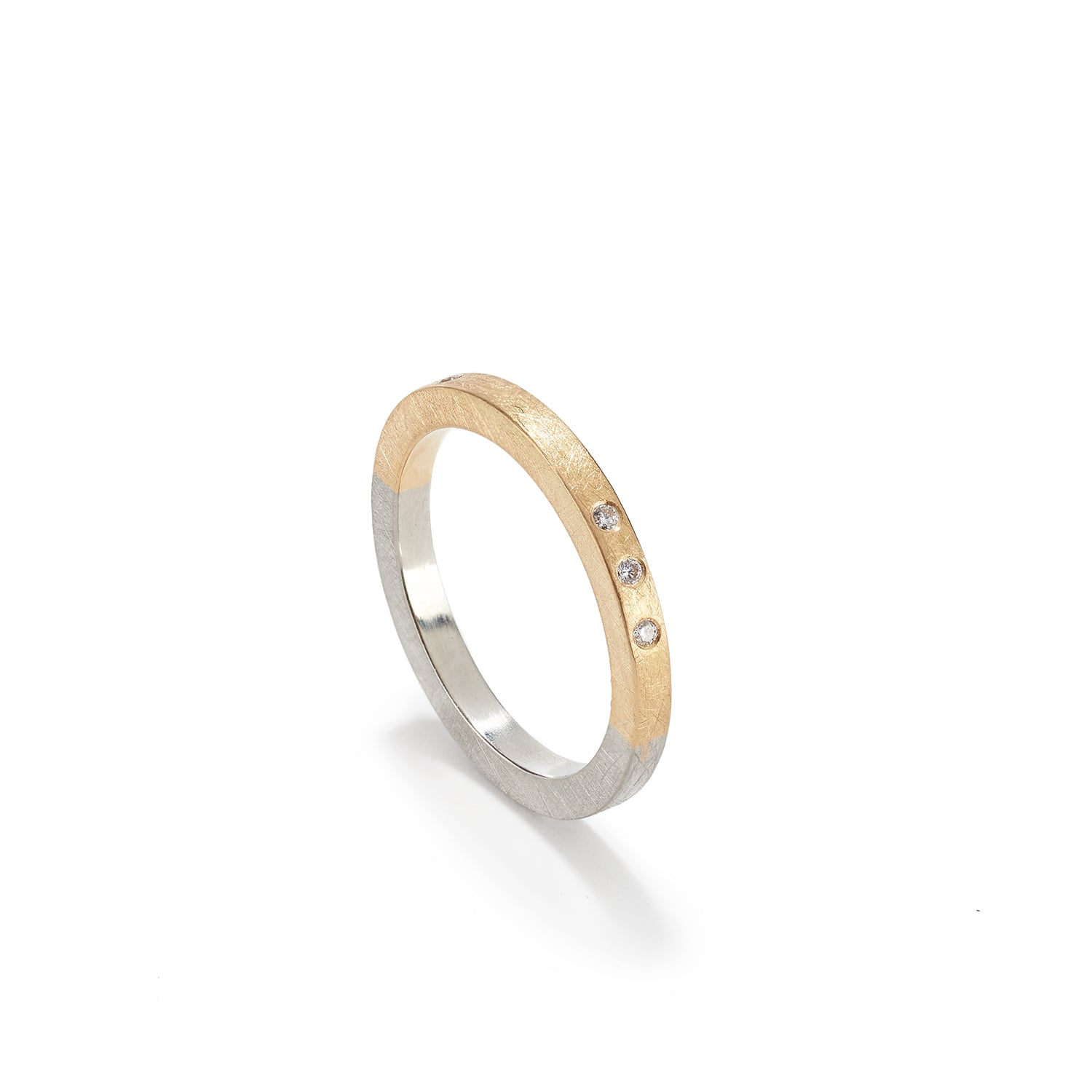 Gold & Platinum Band with Diamonds