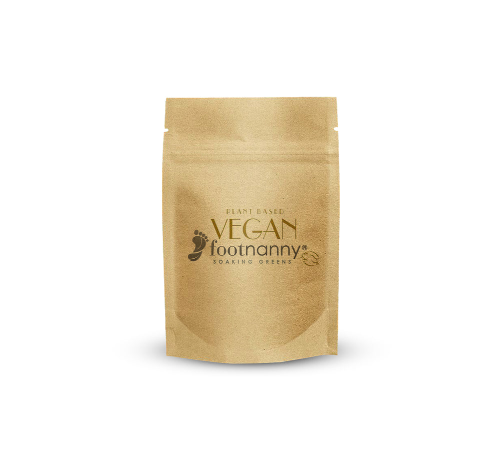 FOOTNANNY VEGAN SOAKING SALTS BY THE POUND  KRAFT COLOR STAND UP POUCH WITH FOOTNANNY LOGO