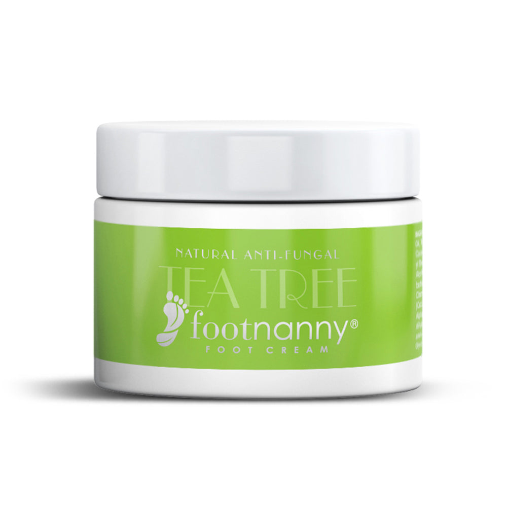 Footnanny Tea Tree Foot Cream White jar with Green label
