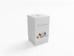 FOOTNANNY KIT BOX WHITE COLOR WITH IMAGE OF BUFFER, CREAM AND PAIR OF WHITE COTTON SOCKS WITH GRAY BAND AROUND SOCKS