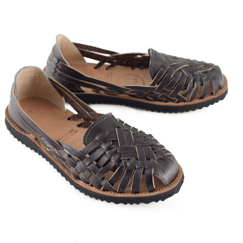 Brown All Leather Huarache Sandals - LatchCo - 1