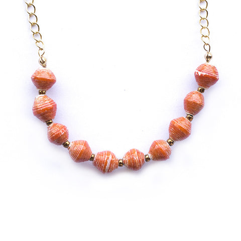 Eleanor Necklace - Marbled Orange
