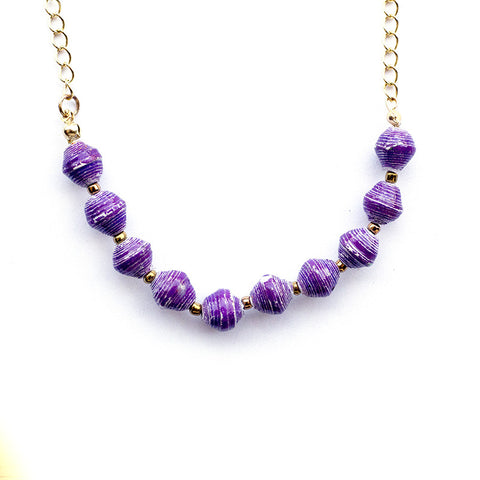 Eleanor Necklace - Marbled Purple