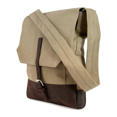 Messenger Bag - Taupe Canvas - LatchCo