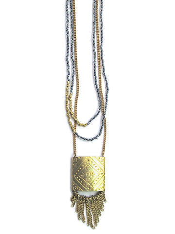 Elizabeth Imani Square Fringe Brass Necklace - LatchCo - 1