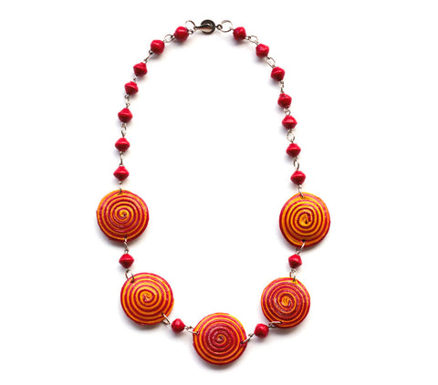 Evelyn Necklace - Red & Yellow - LatchCo - 1