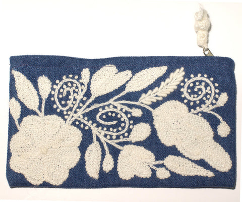 Floral Pouch - Denim Chambray - LatchCo
