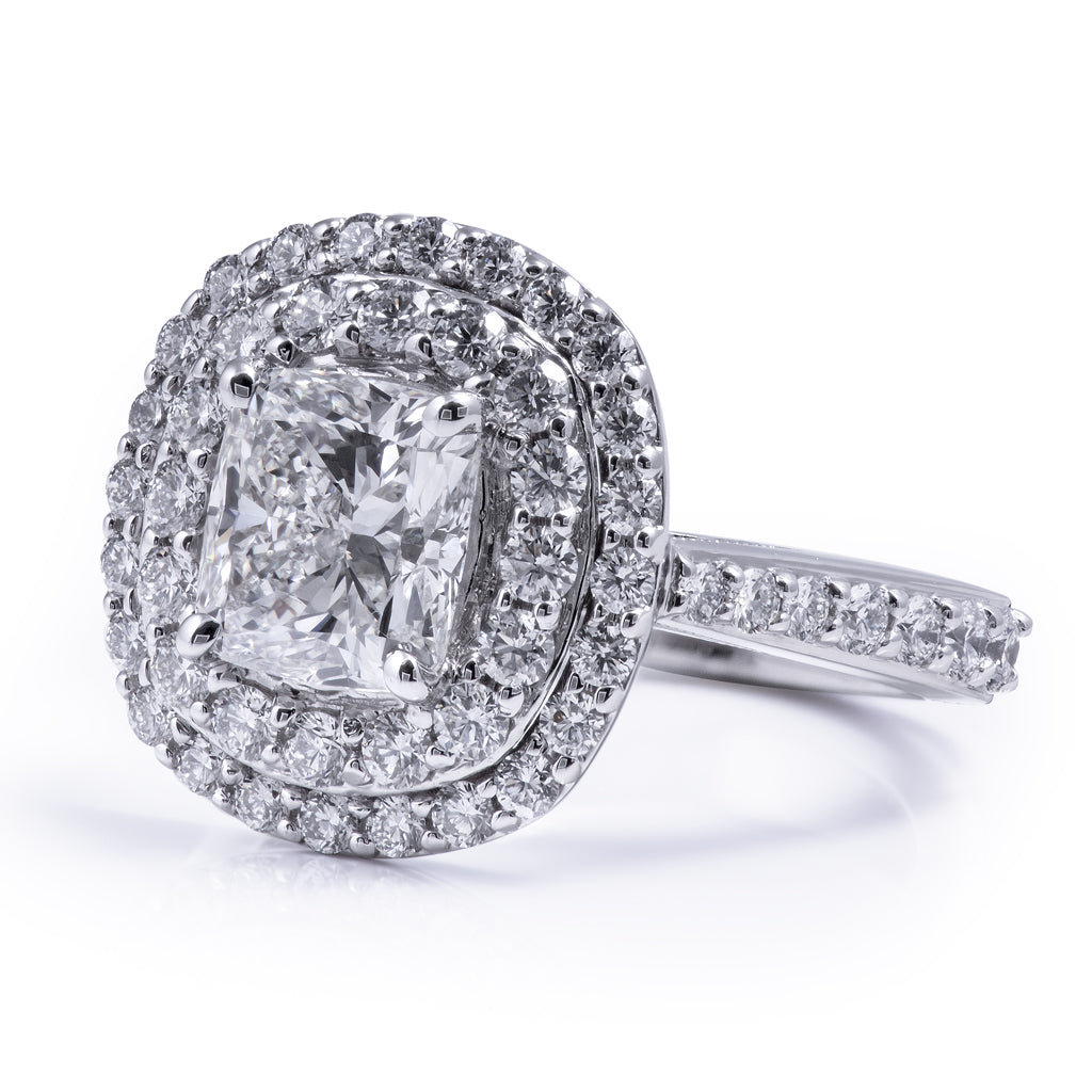 cushion cut 2 carat diamond double halo engagement ring designed in our Calgary Store