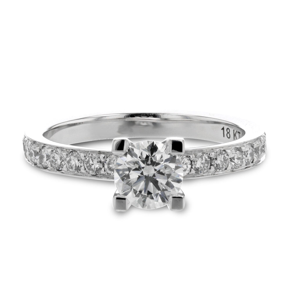 18k white gold and diamond engagement ring designed and made by Davidson Jewels