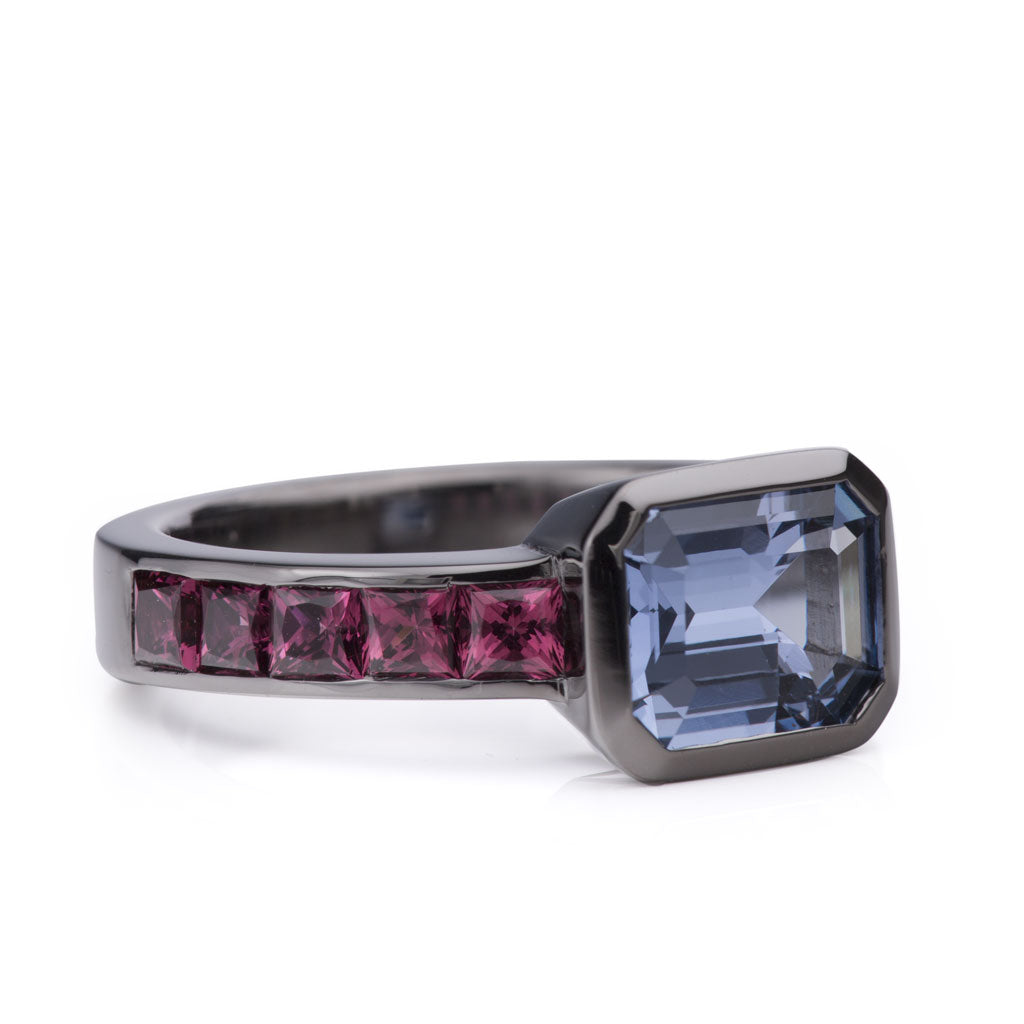 18k blackened white gold ring with bezel set colored gemstones custom design by Davidson Jewels