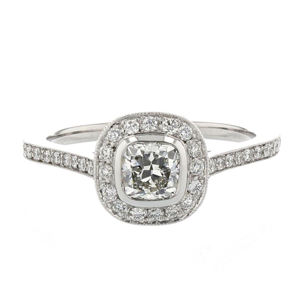Kelly Cushion Cut Diamond Halo Engagement Ring Diamond Engagement Ring Davidson Jewels