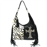 Black Leather And Zebra With Swarovski Crystals Handbag