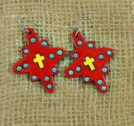 """Stephenville"" Tomato Red With Yellow Cross Clay Earrings"