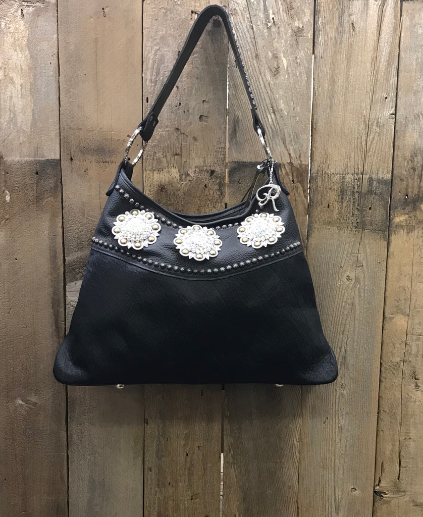 Black Leather With Black Hair And 3 Conchos With Swarovski Crystals Handbag