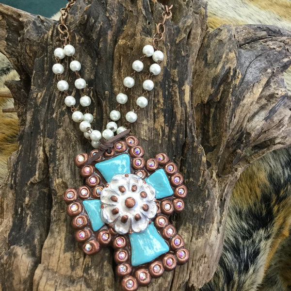"""Antonia"" Bronze, Turq & Ivory Clay Cross Necklace"