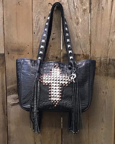 Black Croc With Studded Cross Handbag
