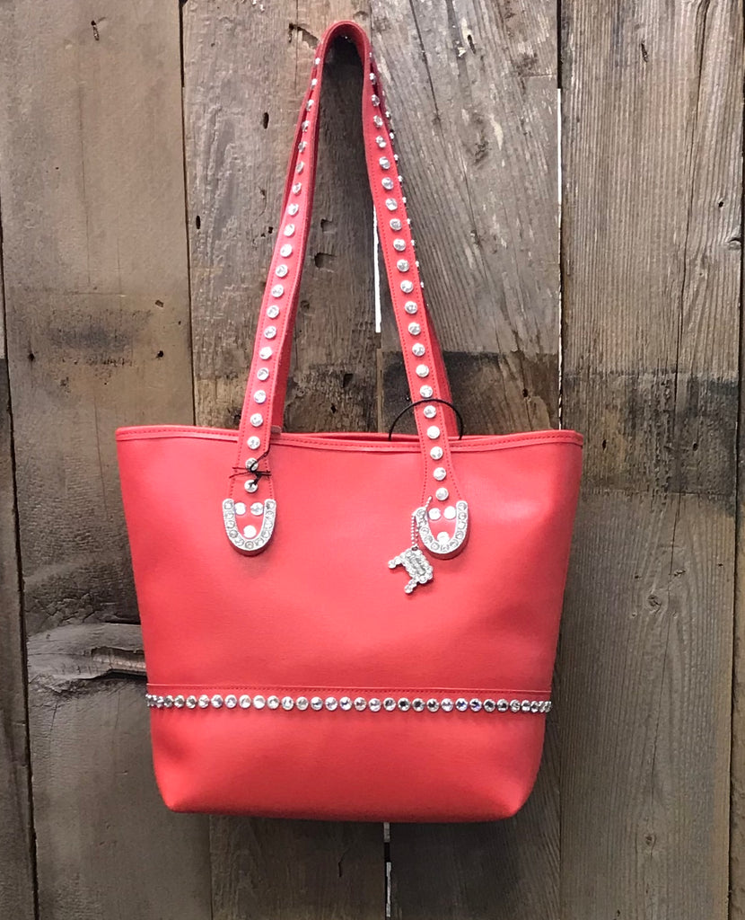 Coral Leather With Swarovski Crystals Handbag
