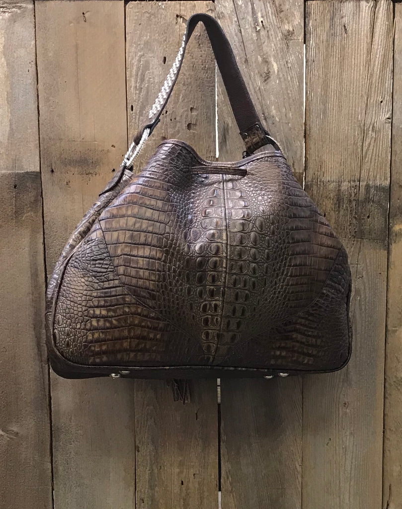 Brown Croc Leather Drawstring With Swarovski Crystals Handbag