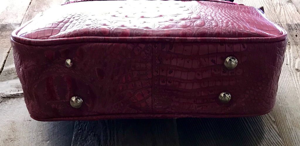 Fuchsia Croc Leather With Hair Handbag