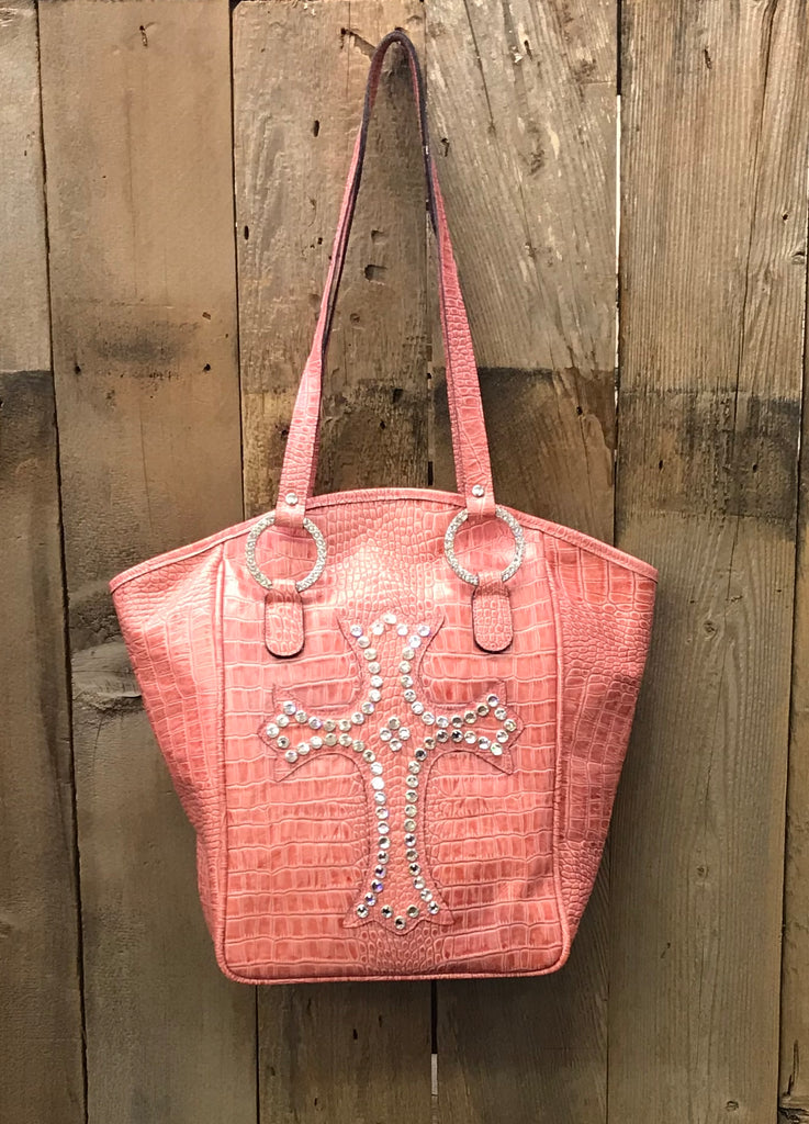Pink Croc Leather With Crystal Cross