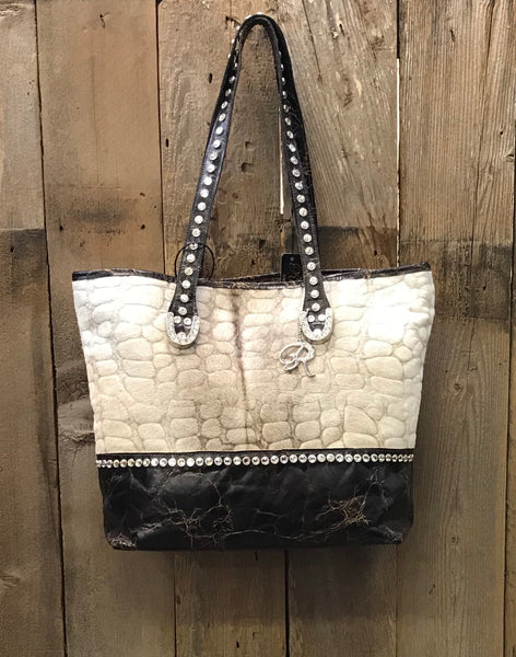 Brown And Tan Lamb Skin Handbag