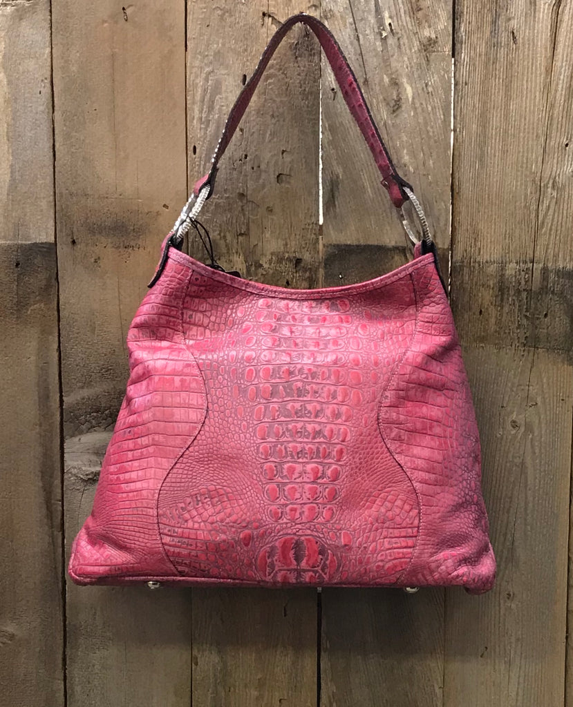 Fuchsia Croc Leather With Brindle And Swarovski Crystals Handbag