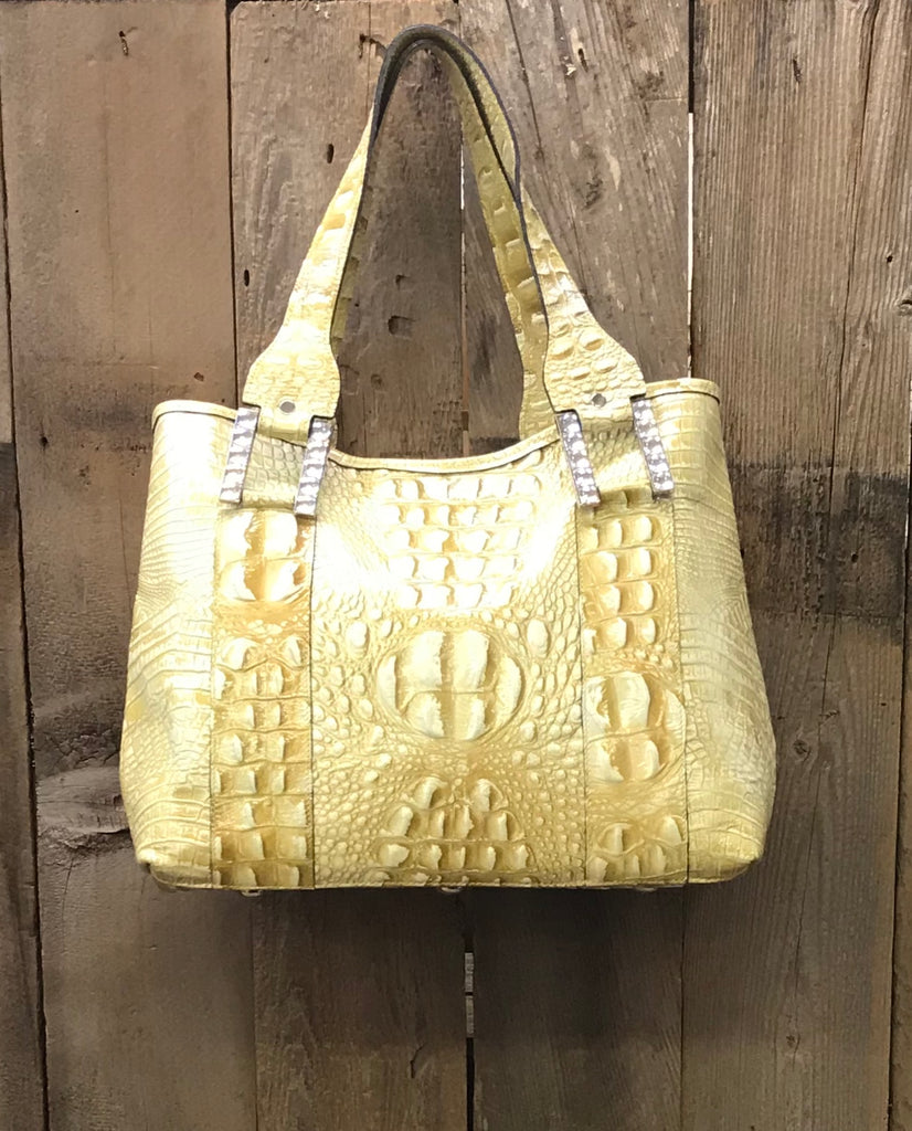 Golden Croc Leather With Swarovski Crystals Handbag