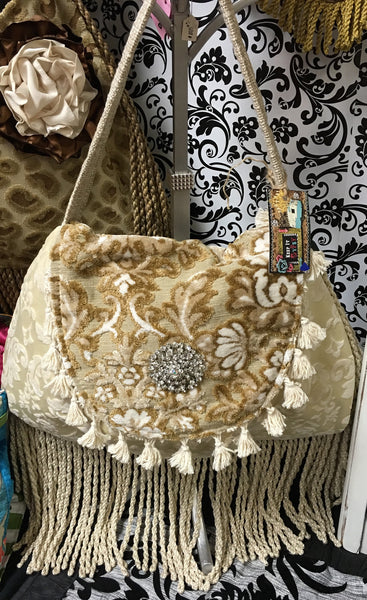Vintage Ivory Handbag with Crystal Broach