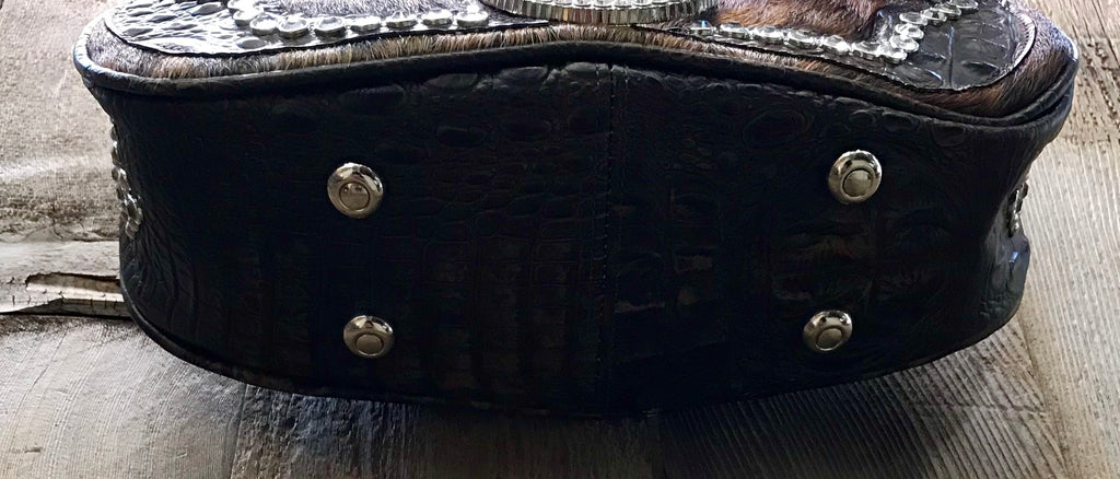 Brown Cowhide And Croc Leather With Swarovski Crystals Handbag