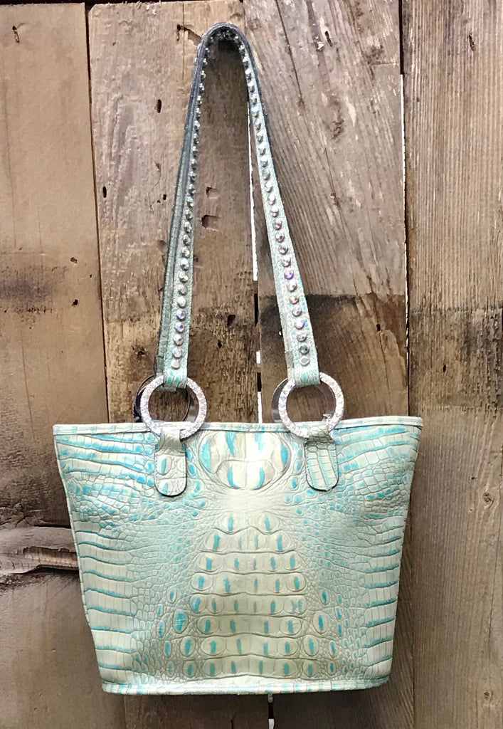 Mint Green And Turquoise Croc Leather With Crystals