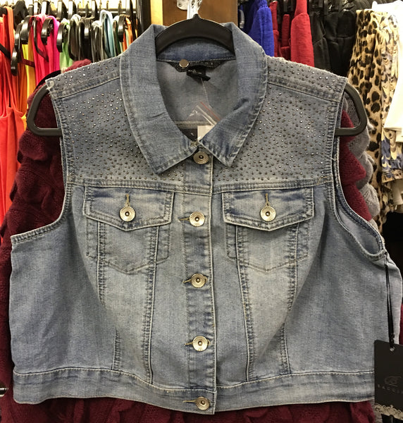 Short Denim Vest with Bling