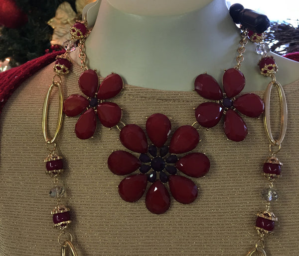 Red Flower Necklace with Purple Jewels Necklace