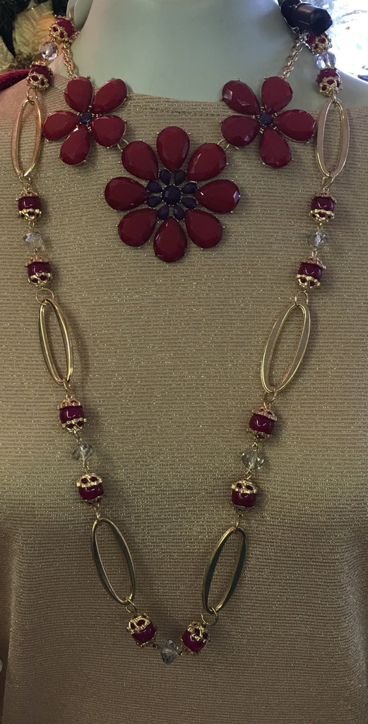 Long Gold & Red Necklace