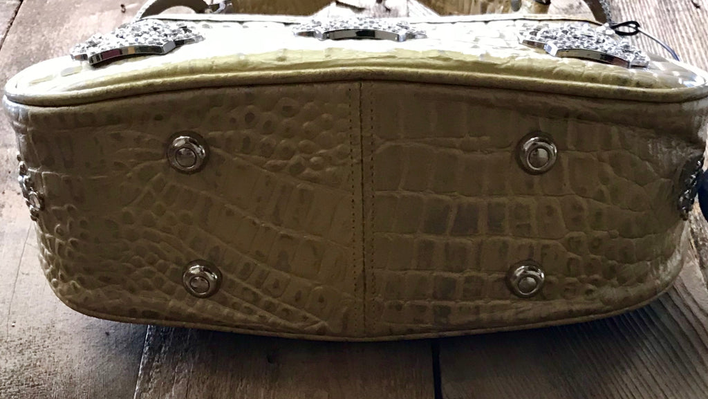 Gold Croc Leather With Three Crown Handbag