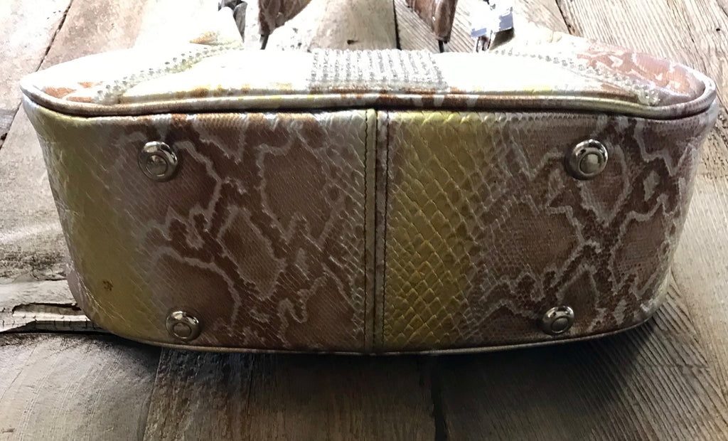 Gold And Bronze Leather With Swarovski Crystals Handbag