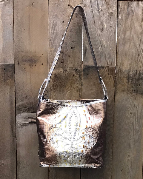 Bronze And Silver Croc With Fleur De Lis Swarovski Crystal Handbag