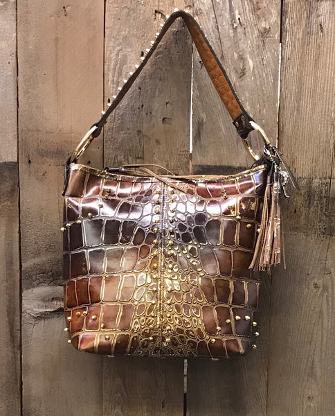 Brown And Gold Croc Handbag