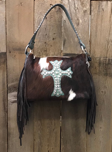 Brown And White Brindle Hair With Turquoise Cross Handbag