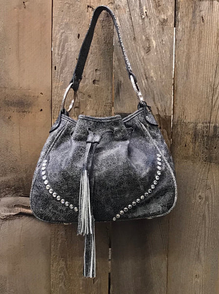Black Crackle Drawstring With Swarovski Crystals Handbag