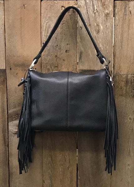 Black Leather With Fringe Handbag