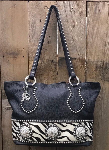 Black Leather With Zebra And Conchos