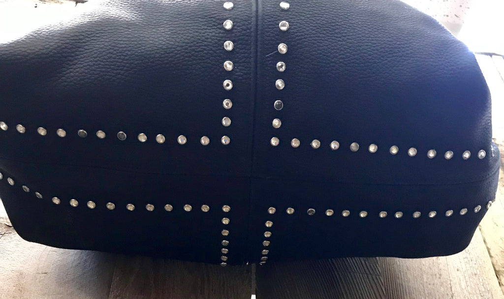 Black Leather With Swarovski Crystal Accents