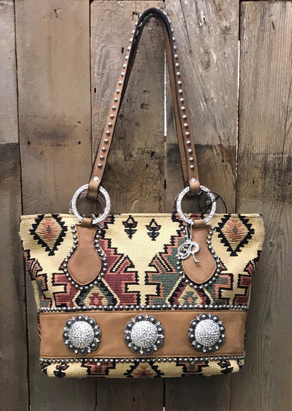 Beige Navajo Tapestry With Conchos