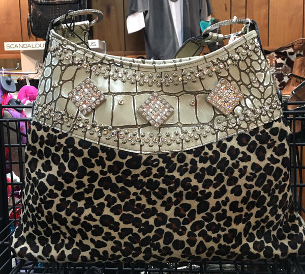 Leopard With Swarovski Crystals And Beige Gator Print