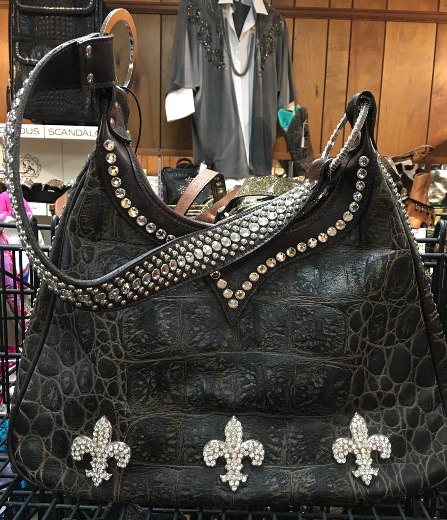 Brown Croc With Swarovski Crystals Fleur De Lis Conchos On Handbag