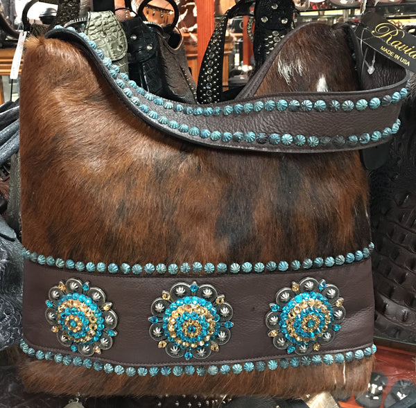 Brindle Cowhide With Turquoise Rivets And Swarovski Crystals Handbag
