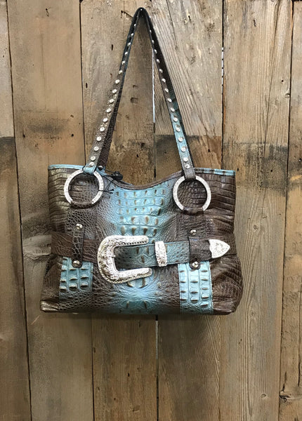 Brown And Turquoise Croc With Western Buckle Handbag